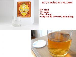 Trắng da sạch mụn nhờ rượu trắng với trà xanh